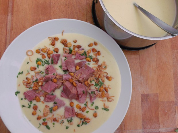 Potato Soup With Smoked Pork Shanks, Fried Shallots And BBQ'd Corn