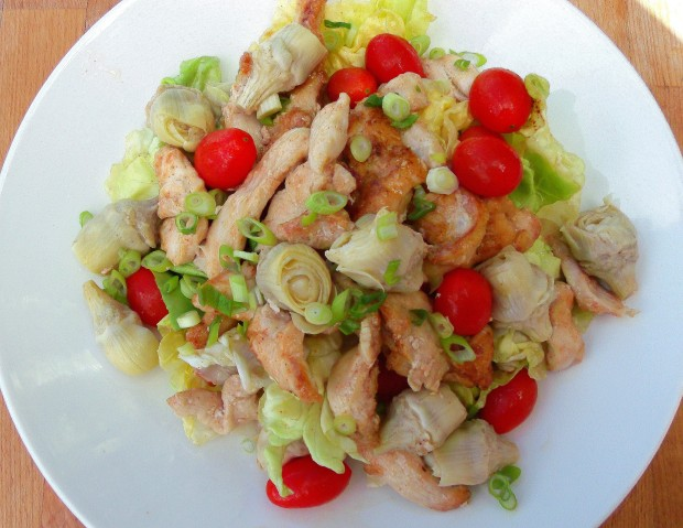 Butter Lettuce With Chicken, Artichokes And Grape-Tomatoes In White Balsamic Vinaigrette