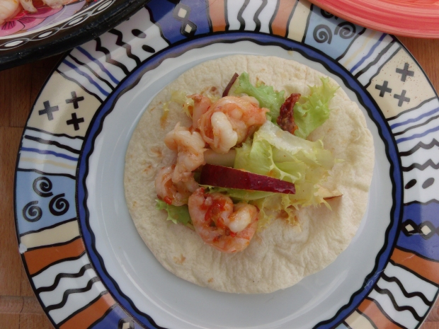 Salad Of Chili Shrimp, Chicorée Frisée, Pear And Sun-Dried Tomato (Or Is It A Taco ?)