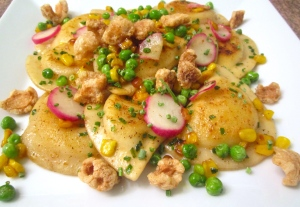 PEPPER JACK STUFFED PIEROGIES WITH CHICHARRONES  CORN  RADISH And PEAS