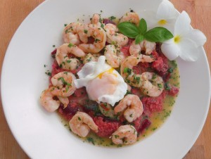 top with shrimp and butter, top with poached egg, sprinkle with more chopped cilantro