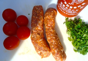italian parsley, 2 ea italian spicy sausage (skin removed), 15 ea cherry tomatoes, sriracha to taste