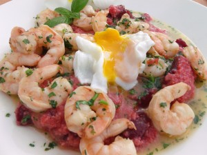Red Beet Grits With Shrimp In Garlic/Herb Butter And Poached Egg