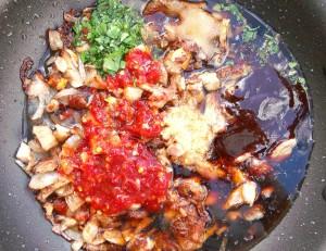 add 1/2 cut pok stock, chicken stock or water, 2 tblsp hoisin sauce, 2 tblsp soy sauce, 1 tblsp garlic paste, 1 tblsp grated ginger, 2 tblsp chopped cilantro, 4 tblsp ( !!! or to taste !!! ) chili paste, kosher salt to taste, 1 tsp sugar