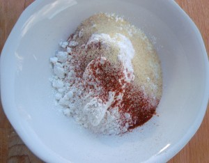season 1 cup of a/p flour with granulated garlic, cayenne pepper and kosher salt to taste