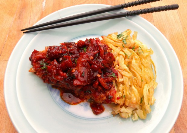 Crisp Chinese Noodle Pillow With Chile Pork
