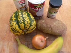 pumpkin, onion, potato, cumin, curry powder, coconut milk