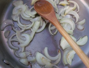 saute julienne from 1 small onion in 3 oz whole butter