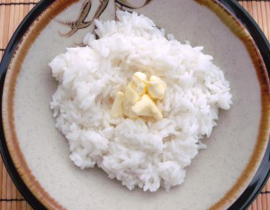 top rice with 2 oz SOFT butter