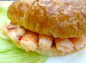 BREAKFAST OF CHAMPIONS # 58 - Shrimp Croissant And Fresh Fruits With Kefir And Honey