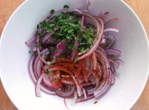 onion, lime juice, cayenne pepper, cilantro, kosher salt