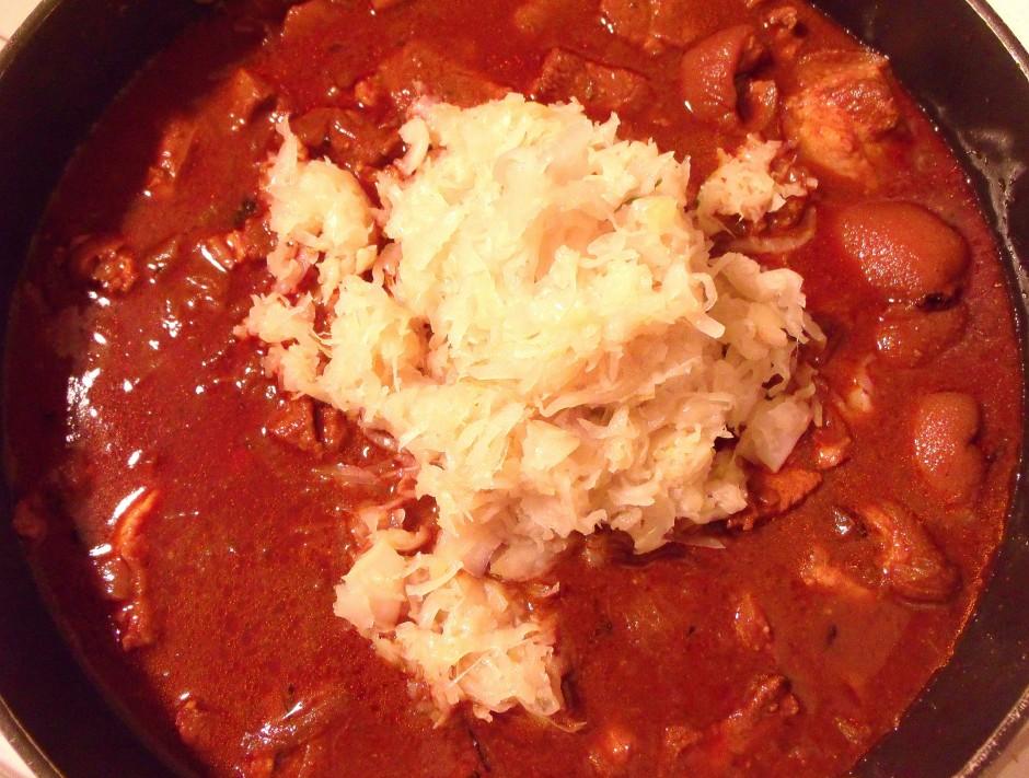 add 1 lb sauerkraut, simmer another 20 minutes
