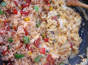 mix the eggs with the other ingredients, saute until the eggs are dry