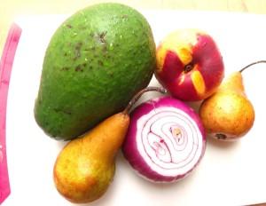 1 ea Florida avocado, 2 ea bosc pears, 1 ea nectarine, 1/2 ea red onion