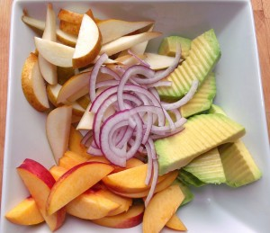 cut fruit and onion, dress with 3 tblsp fresh-squeezed lemon juice, a pinch of kosher salt, 4 tblsp extra virgin olive oil and 4 tblsp Thai sweet chili sauce; serves 4