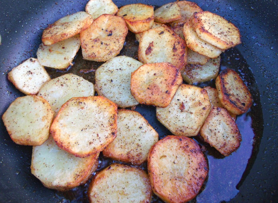 saute potatoes in olive oil until golde, season with kosher salt and cayenne pepper