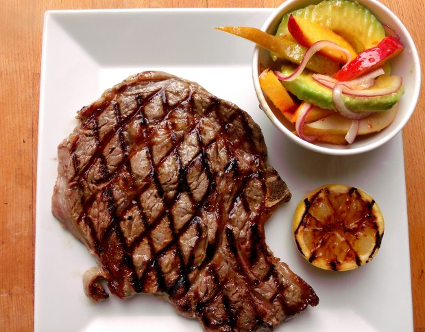 Salade Oscar . Bone-In Rib Eye Steak