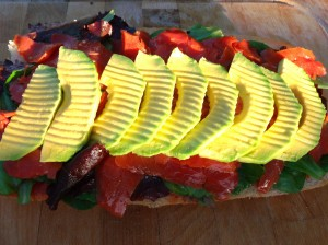top the smoked salmon with sliced avocado, sprinkle with kosher salt, fresh-cracked black pepper and lime juice to taste