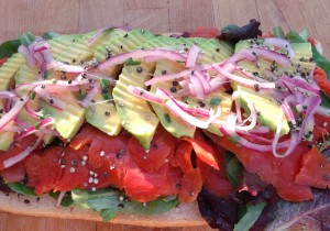 top with pickled onions (see recipe in link on this page); serve either as is, open faced, or put the two halves together to form a sub