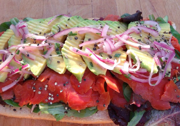 """The Convertible"" Smoked Salmon, Pickled Onions  And Avocado"