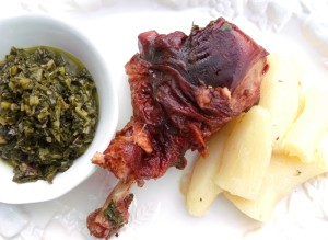 Smoked Turkey Leg With Collard Greens And Yuca In Mojo