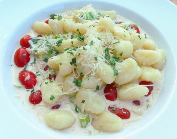 Gnocchi With Creamed Leeks And Grape Tomatoes