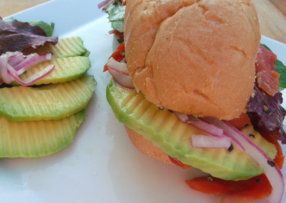 """""""The Convertible"""" Smoked Salmon, Pickled Onions  And Avocado Hoagie"""